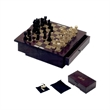 Elegant Chess and Checker Set on Wooden Drawer - Chess/checker set in rosewood color finish box with drawer.