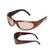 Stylish Wrap Around Sunglasses - Stylish wraparound sunglasses with rhinestones all along the frames and temples