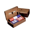 Deluxe Wood Game Box - Deluxe game box with poker chips, cards, double six dominoes and dice.
