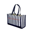 Fashion Tote - Awning striped tote bag with polyester handles, binding and cuff.