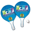 """Beach Pong Beach Paddle Set - Beach paddle ball game with two 13"""" x 7.3"""" wooden paddles with foam handles and rubber ball in recloseable net bag."""