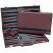 Tournament Backgammon Seext-Burgundy & Black Leatherette - Backgammon set with chips, dice, cups, and a doubling cube.