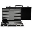 """Black Leatherette Backgammon-Medium - Black leatherette backgammon, 15""""."""