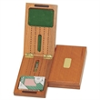 Travel Cribbage Set-Solid Wood Folding Board with Storage - Two track folding travel cribbage.