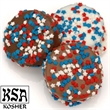 Red White and Blue Stars Chocolate Dipped Oreos - Belgian chocolate Oreo cookie with patriotic confetti individually wrapped