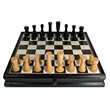Modern Chess & Checkers Set - Black with Storage - Modern chess and checkers set with hand carved pieces.