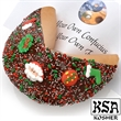 Christmas Giant Fortune Cookie - Giant Christmas Holiday giant fortune cookie decorated with festive sprinkles