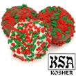 Holly Berry Sprinkles Chocolate Dipped & Decorated Oreos® - Belgian chocolate Oreo cookie with holly and berries confetti.