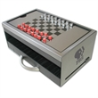 Game - Chess and checkers metal desk executive game.