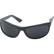 Wrap Traditional Sunglasses - Wraparound sunglasses with shiny black frame and smoke lenses.