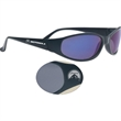 Island Wrap Sunglasses - Wraparound sunglasses with UV protected lenses and black frame.