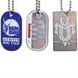 """Aluminum Dog Tags (Photo-Etched) with 23"""" ball chain."""