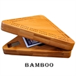 "Wood Triangle Cribbage Board & Case - Hand-crafted 8"" triangular clamshell cribbage case."