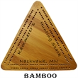 "Wood Triangle Cribbage Board - Hand-crafted 8"" triangular cribbage board."