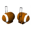 Football Cooler - Portable football shaped ice chest with retractable handle and rubber sport wheels.