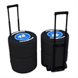 Tire cooler - Large portable race tire shaped ice chest with retractable handle and rubber wheels.