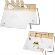 Glass cheese board set - 4 utensils - Clear glass cheese board with incorporated cheese wire for cutting.