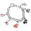 """Gaming Charm Bracelet - Silver-plated 8"""" bracelet with an Egyptian toggle clasp and various gaming charms."""
