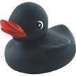 Black squeaking rubber duck - Rubber squeaking black duck toy, balanced for floating.