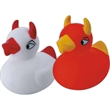 Rubber devil duck - Red squeaking rubber duck devil designed toy with horns, balanced for floating.