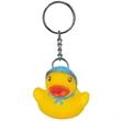 Blue bonnet rubber duck key chain - Rubber duck with blue bonnet and pink dots key chain.