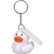 Baseball duck key chain - Rubber baseball designed duck key chain.