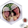 """Acrylic Coaster - Clear acrylic drink coaster with round shape, cork backing and insert size of 2 7/8"""" in diameter."""