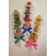 "Gummy Kabob - Kabob, 12"", of multi colored gummies and gumdrops."