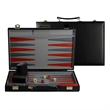 Red, Black and Gray Backgammon Set - 15 in - Black backgammon set with black vinyl case, chips, dice, cups and doubling cups.
