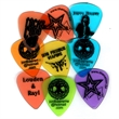 Guitar Pick - Color clear picks with one color black imprint.