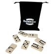 Double Six Domino Sets in Custom-Imprinted Drawstring Bags - Double six domino sets in drawstring velvet bags. Three domino colors available. Variety of bag colors available.