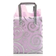 Bag with matching soft loop handle - Silver 4 mil bag with swirls and matching soft loop handle and bottom board insert. Blank