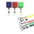 Square retractable badge holder with lanyard