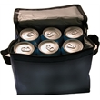 Six pack insulated cooler - Insulated cooler with strap and front pouch that holds a six pack.