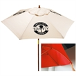 In Stock 7 Foot Market Umbrella - Market umbrella with 7' arc, 6 panel configuration, 2-pc. solid wood frame, polyester cover with wind vents and fiberglass ribs.