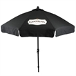 In Stock 9 Foot Market Umbrella with Crank & Fiberglass Ribs - Market umbrella with 9' arc, 8 panel configuration, black powder coated aluminum frame, fade-resistant cover and wind vents.