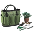 Gardening Tool Set - Eco-friendly canvas gardening tote bag with three-piece stainless steel garden tool set