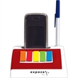 Cell phone holder with notepad and sticky flags