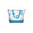 Beach Bag - Fashion beach bag with blue webbing handle made of canvas.