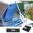 Silicone BBQ Set - BBQ set with spatula, basting brush, tongs and silicone oven mitt in a handy case.