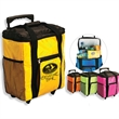 Rally Cooler - Rolling cooler with telescoping handle, 2 side mesh pockets, folds down for storage.