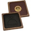 Wood coaster - Single square wooden coaster with leather inlay.
