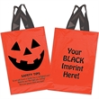 "Halloween Plastic Soft Loop/Orange - Pumpkin Face - Halloween Stock Design Orange Plastic Soft Loop Shopper - Pumpkin Face & Safety Tips (10""X15"") - Flexo Ink"