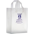 """Clear Frosted Soft Loop Shopper Bag w/ Insert - Flexo Ink - Clear Frosted Soft Loop Plastic Shopping Bags with Insert (10""""x5""""x13"""") - Flexo Ink"""