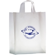 """Clear Frosted Soft Loop Shopper Bag w/ Insert - Flexo Ink - Clear Frosted Soft Loop Plastic Shopping Bags with Insert (13""""x5""""x16"""") - Flexo Ink"""