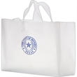 """Clear Frosted Soft Loop Shopper Bag w/ Insert - Flexo Ink - Clear Frosted Soft Loop Plastic Shopping Bags with Insert (16""""x6""""x12"""") - Flexo Ink"""