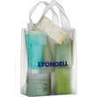 """Clear Frosted Soft Loop Shopper Bag w/ Insert - Flexo Ink - Clear Frosted Soft Loop Plastic Shopping Bags with Insert (8""""x4""""x11"""") - Flexo Ink"""