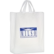 """Clear Frosted Soft Loop Shopper Bag w/ Insert - Foil Stamp - Clear Frosted Soft Loop Plastic Shopping Bags with Insert (13""""x5""""x16"""") - Foil Stamp"""