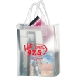 """Clear Frosted Soft Loop Shopper Bag w/ Insert - Foil Stamp - Clear Frosted Soft Loop Plastic Shopping Bags with Insert (8""""x4""""x11"""") - Foil Stamp"""