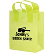 """Color Frosted Soft Loop Shopper Bag with Insert - Flexo Ink - Color Frosted Soft Loop Plastic Shopping Bags with Insert (8""""x4""""x11"""") - Flexo Ink"""
